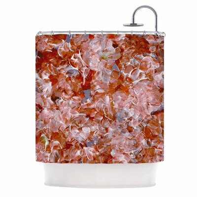 Ebi Emporium Bloom On! Abstract Shower Curtain Color: Orange/Tan