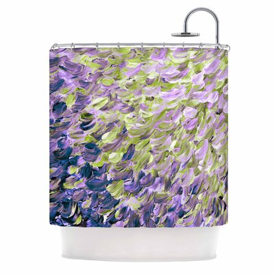 Ebi Emporium Frosted Feathers Shower Curtain Color: Purple Lime/Purple Lavender