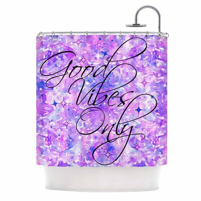 Ebi Emporium Good Vibes Only 2 Shower Curtain Color: Purple/Lavender