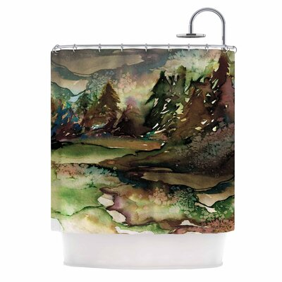 Ebi Emporium Never Leave the Path 6 Shower Curtain Color: Brown/Olive