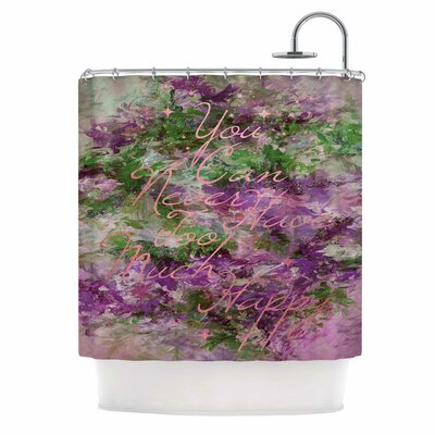 Ebi Emporium Too Much Happy 9 Shower Curtain Color: Purple/Green