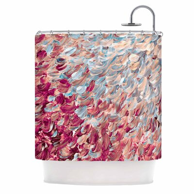 Ebi Emporium Frosted Feathers Shower Curtain Color: Red Aqua/Red Blue