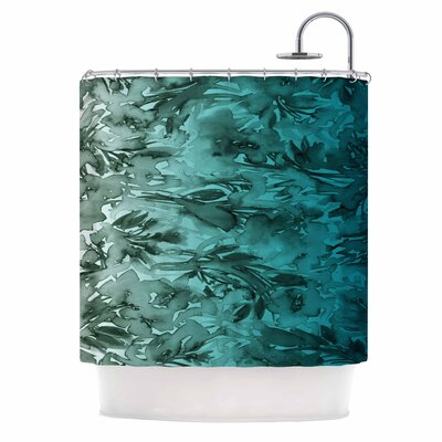Ebi Emporium Forever Flowers Shower Curtain Color: Teal Ombre/Teal Gray