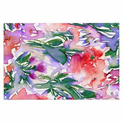 Ebi Emporium Floral Destiny 8 Watercolor Doormat Color: Red/Lavender