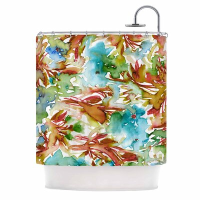 Ebi Emporium Floral Destiny 8 Shower Curtain Color: Orange/Teal