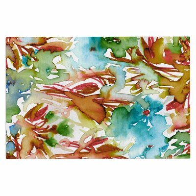 Ebi Emporium Floral Destiny 8 Watercolor Doormat Color: Orange/Teal