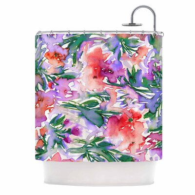Ebi Emporium Floral Destiny 8 Shower Curtain Color: Red/Lavender