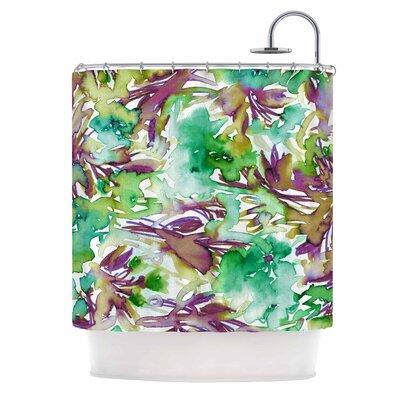 Ebi Emporium Floral Destiny 8 Shower Curtain Color: Green/Purple