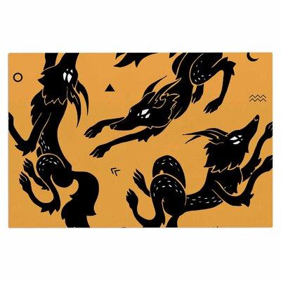 Anya Volk Dancing Wolves Abstract Doormat