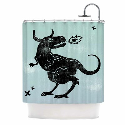 Anya Volk Fire Monster Illustration Shower Curtain
