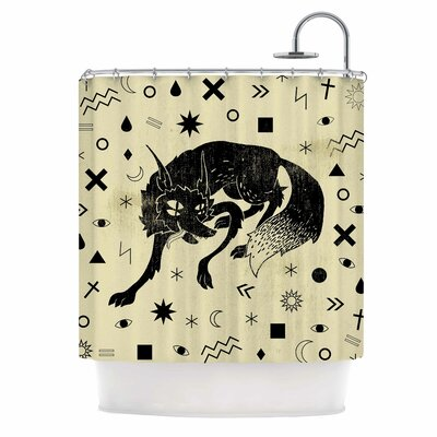 Anya Volk Wolf Illustration Shower Curtain