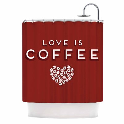 Image of Busy Bree Coffee Love Typography Shower Curtain