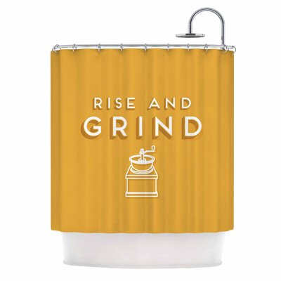 Busy Bree Rise and Grind Illustration Shower Curtain
