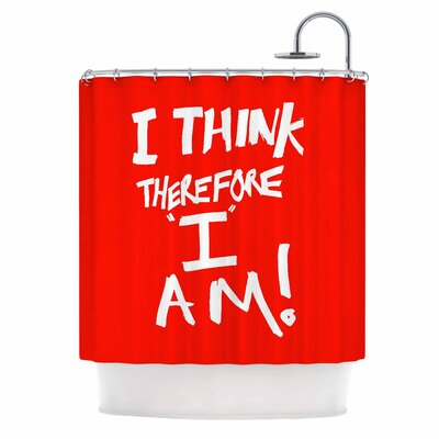 Bruce Stanfield I Think Therefore I am Red Typography Shower Curtain