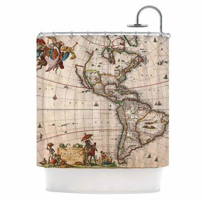 Bruce Stanfield Vintage Map of the Americas Shower Curtain