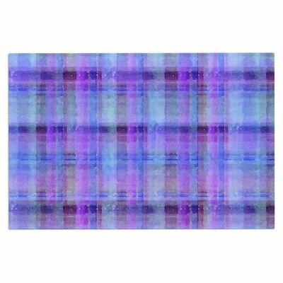 Carolyn Greifeld Watercolor Plaid Doormat Color: Blue/Purple
