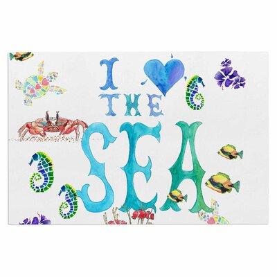 Catherine Holcombe I Love the Sea Ocean Typography Doormat