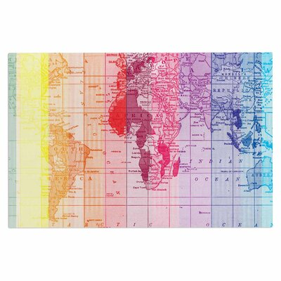 Catherine Holcombe Rainbow World Map Travel Doormat