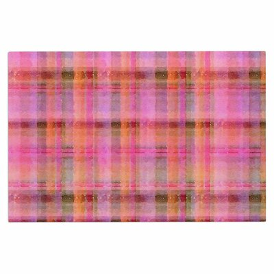 Carolyn Greifeld Watercolor Plaid Doormat Color: Pink/Yellow