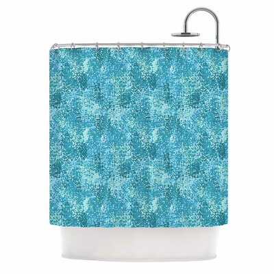 Carolyn Greifeld Painterly Blues Abstract Shower Curtain