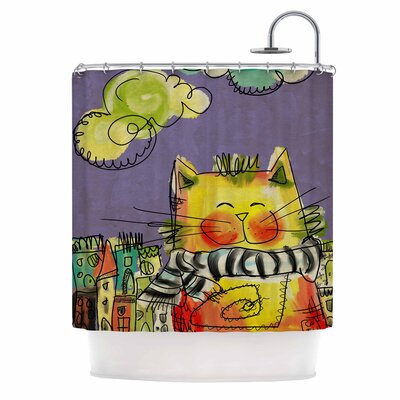 Carina Povarchik Urban Cat with Scarf Illustration Shower Curtain