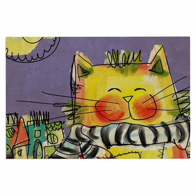 Carina Povarchik Urban Cat with Scarf Illustration Doormat