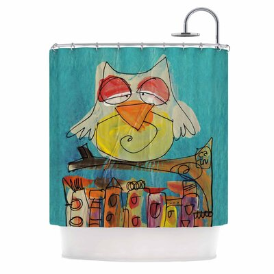 Carina Povarchik Urban Owl Teal Kid Shower Curtain