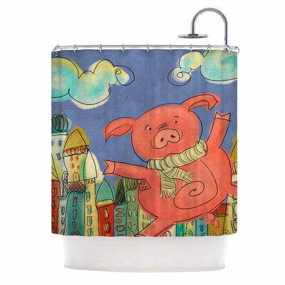 Carina Povarchik Happy Urban Pig Shower Curtain