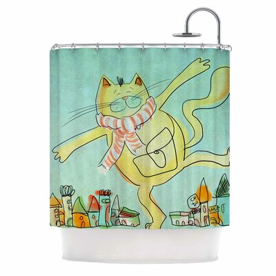 Carina Povarchik Dancing Cat in the City Shower Curtain