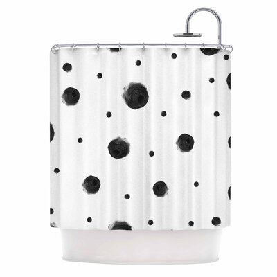 Black Dots Abstract Shower Curtain
