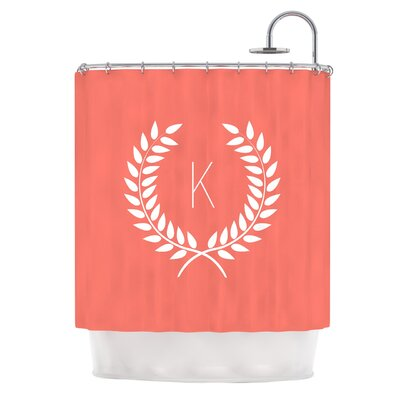 Coral Wreath Monogram Shower Curtain
