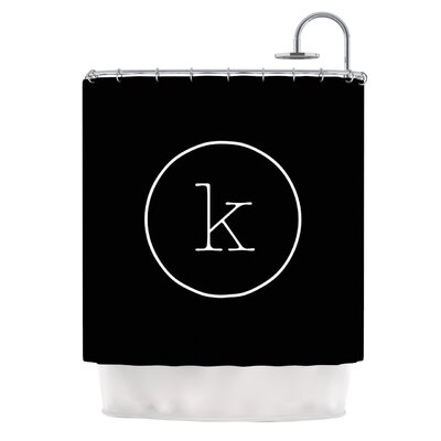 Simple Black Monogram Shower Curtain