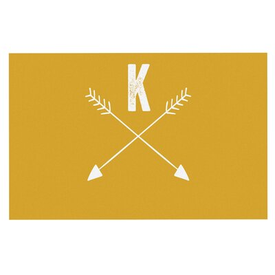 'Arrow Monogram' Doormat Color: Gold