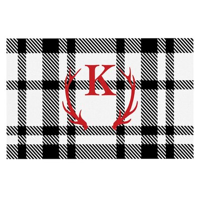 White Plaid Monogram Doormat