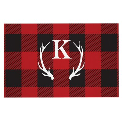 Plaid Doormat Letter: K