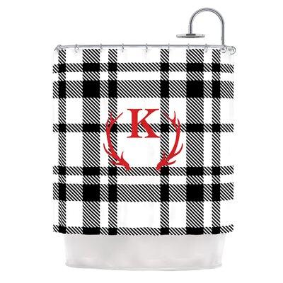 White Plaid Monogram Shower Curtain