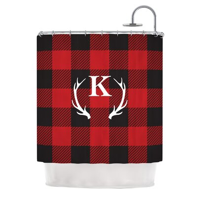 Red Plaid Monogram Shower Curtain
