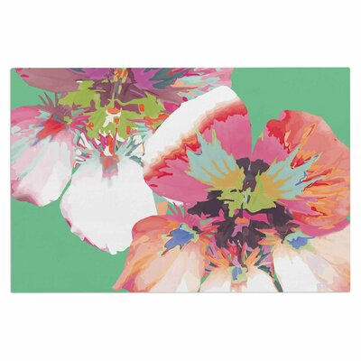 Love Midge Graphic Flower Nasturtium Floral Doormat Color: Green Magenta/Mint