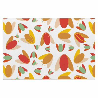 Love Midge 1970s Floral Geometric Neon Abstract Doormat Color: Orange