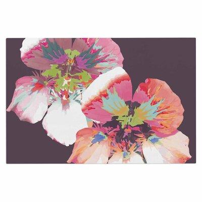 Love Midge Graphic Flower Nasturtium Floral Doormat Color: Lavender
