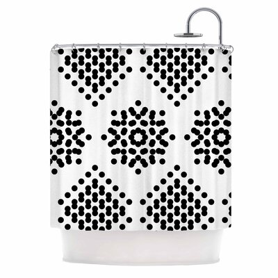 Tiny September Black and White Dot Party Shower Curtain