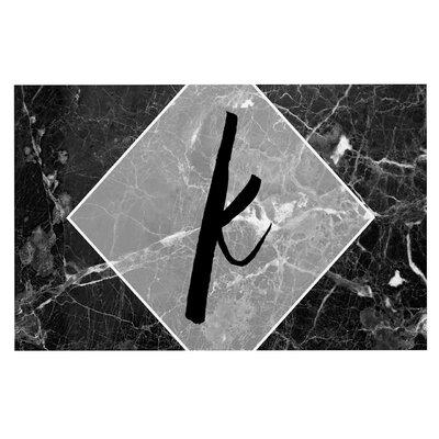 Black Marble Monogram Doormat Letter: O
