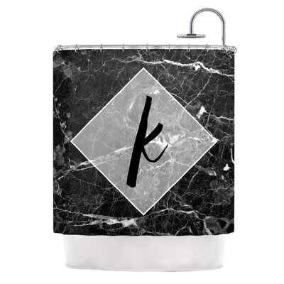 Black Marble Monogram Shower Curtain