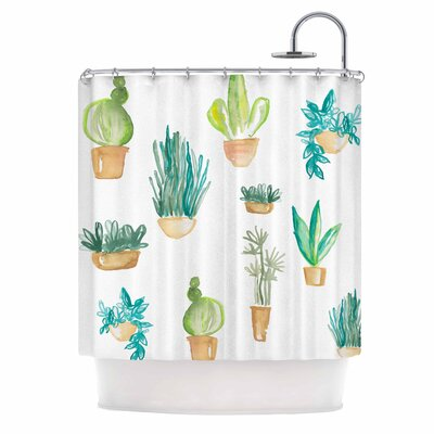 Jessi Blake Plants and Cacti Illustration Shower Curtain