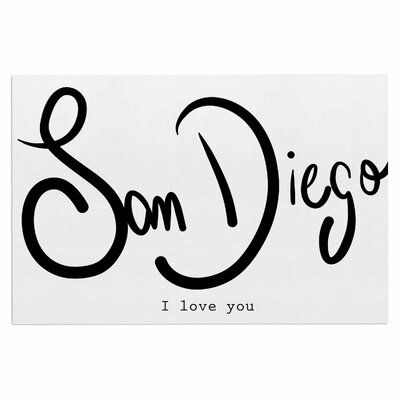 Gabriela Fuente San Diego I Love You Travel Typography Doormat