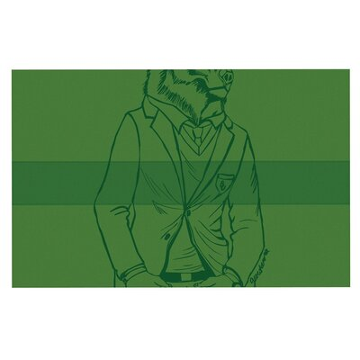 Geordanna Cordero Fields Dapper Bear Emerald Animal Doormat