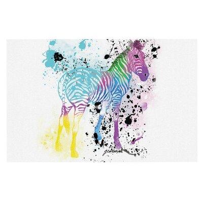 Geordanna Cordero Fields My Zebra Rainbow Doormat