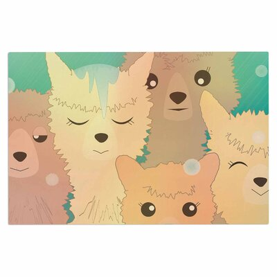 Graphic Tabby Alpacas in Snow Pastel Animals Doormat