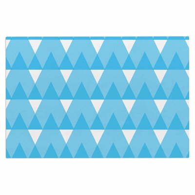 Jackie Rose Triangles Custard Doormat Color: Blue