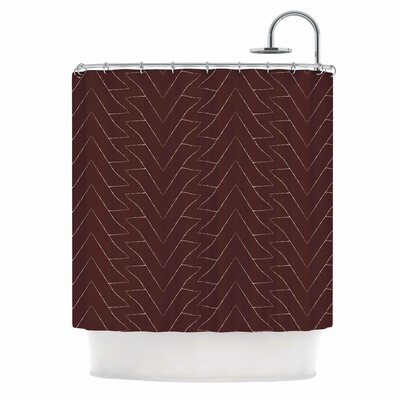 Julia Grifol Brown Triangles Shower Curtain